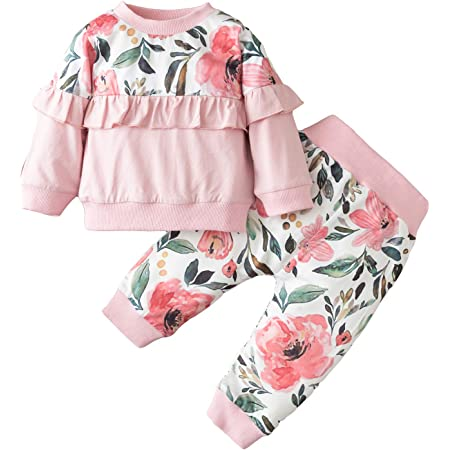 Baby Toddler Girl Clothing Set 3 Pcs Flower Print Lace Long Sleeve Sweatshirt Tops Trousers Tracksuit Outfits Casual Suit