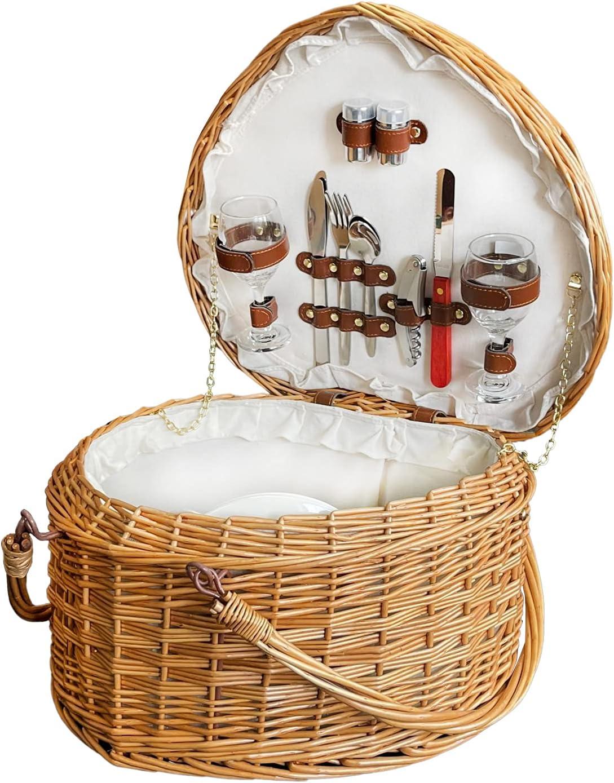 Shrandi Wicker Heart Picnic Basket Popular brand in the world 2 - latest Large for
