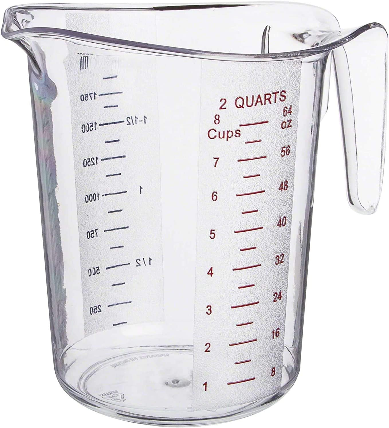 2 Qt. (8 Cups) Clear Plastic Measuring Cup with Gradations