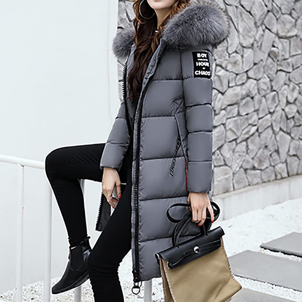 BHYDRY Damen Winterjacke Wintermantel Lange Daunenjacke Jacke Outwear Frauen Winter Warm Daunenmantel Solide L?ssig Dicker Winter Slim Down Lammy Jacke Mantel Grau