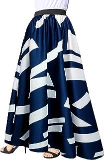 Afibi Women Chiffon Mopping Floor Length Big Hem Solid Beach High Waist Maxi Skirt
