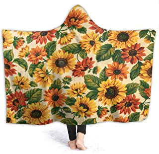 ARRISUM Yellow Sunflower Print with Cap Flannel Fleece Blanket,Soft Micro-Velvet Blanket,Soft Hypoallergenic Plush Bed Sofa Living Room 50x40 inch
