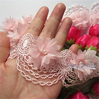 2 Meters Chiffon Flower Pearl Lace Edge Trim Ribbon 6 cm Width Vintage Style Pink Edging Trimmings Fabric Embroidered Applique Sewing Craft Wedding Bridal Dress Embellishment DIY Clothes Decor