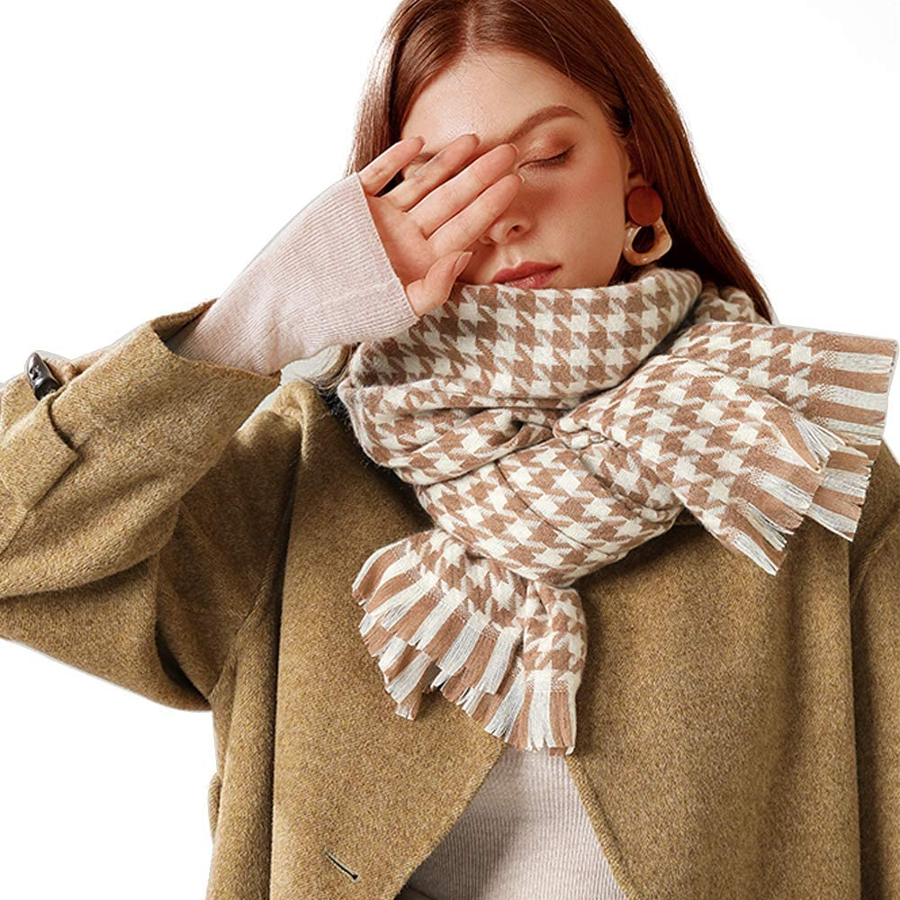Popular brand Super Soft Houndstooth New product Scarf Luxurious Scar Cashmere Feel Winter