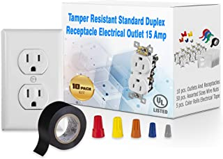 Maximm 10 Pack Tamper Resistant Standard Wall Outlet Duplex Receptacle Electrical Outlet 15A, Wall Plate, White, Assorted screw on wire connector Twist-on Cap Wire Nuts, PVC Vinyl Electrical Tape - UL