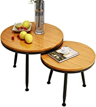 Living Room Furniture Metal Full Solid Wood Nesting Coffee Table End Table Stainless Steel Metal Frame Modern Simple Round...