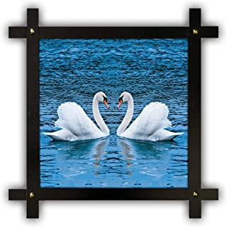 Poster n Frames Cross Wooden Frame Hand-Crafted with Photo of vastu swan 12614- (16.5x16.5inch,wood,multicolour)