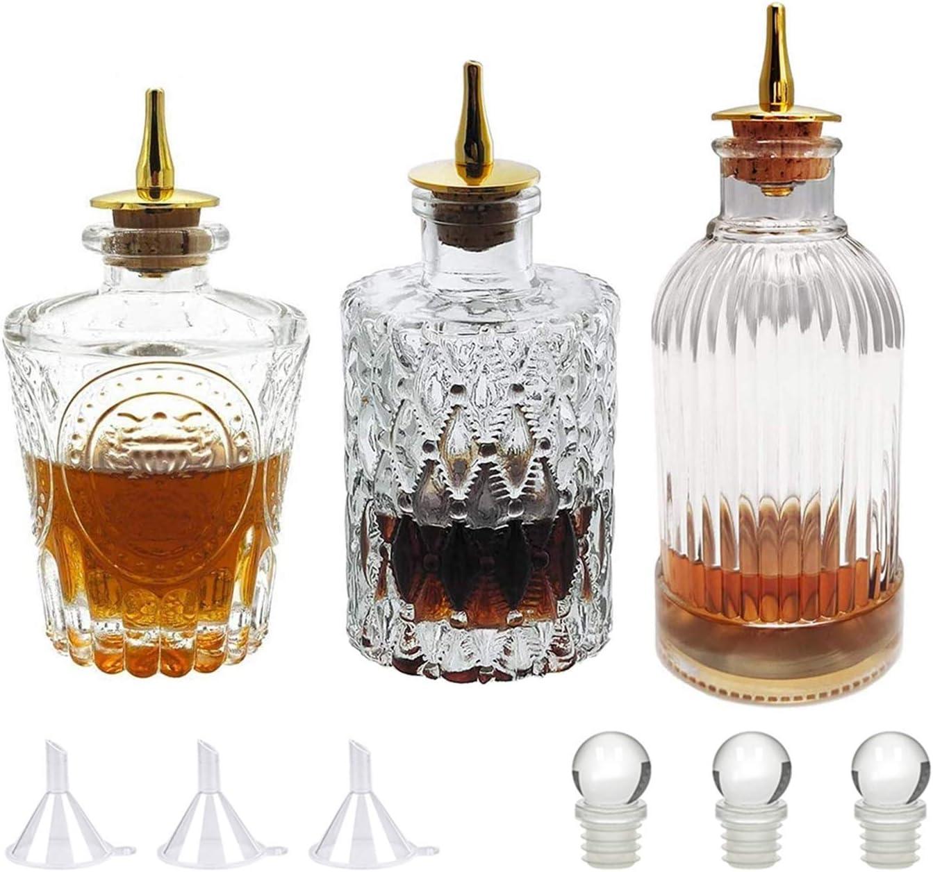 Bitters Bottle Set Glass Vintage Bottle Decorative Bottles With Zinc Alloy Dash Top Great Bottle For Your Bitters 3 Amazon Co Uk Diy Tools