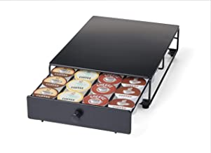 Nifty Home Products 24 Coffee Pod Capacity Storage Drawer Rolling K-Cup Holder, 12.75x8.25x3, Black