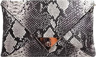 CLARA Women Fashion Snakeskin Pattern Clutch Handbag Envelope Bag Chain Shoulder Bag Evening Party Bag