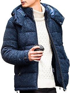 何もない規制するボルト(キャバリア)CavariA メンズ 中綿 ジャケット ブルゾン ジャンパー ウール ブークレ 2WAY 厚手 防寒【+】