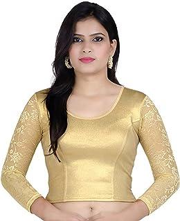 Fressia Fabrics Cotton Bustier Saree Blouse (118gold_XXL_Gold_Free Size)