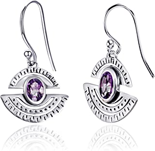 Orchid Jewelry 1.37 CTW Natural 7X5MM Oval Purple Amethyst 925 Sterling Silver Dangle Earrings For Women – A February Birt...