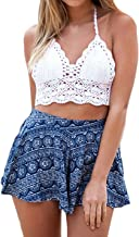 Saoye Fashion Camisolas Mujer Bikini Crochet Sin Mangas V Cuello Espalda Descubierta Slim Fit Crop Tops Verano Playa Vintage Hippie Boho Ganchillo Bikini Top Tank Top