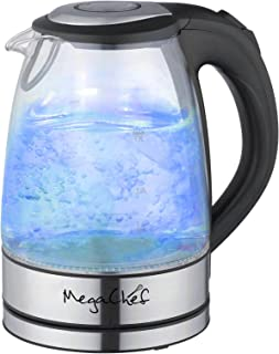 Megachef Stainless Steel Light Up Tea Kettle, 1.7L, Clear Glass (Renewed)