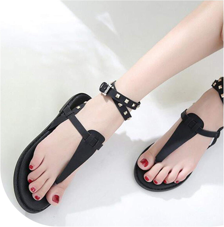Alerghrg Flat Sandals Rivet Women's shoes Roman-Style Sandals Black Brown Size 35-40 F081