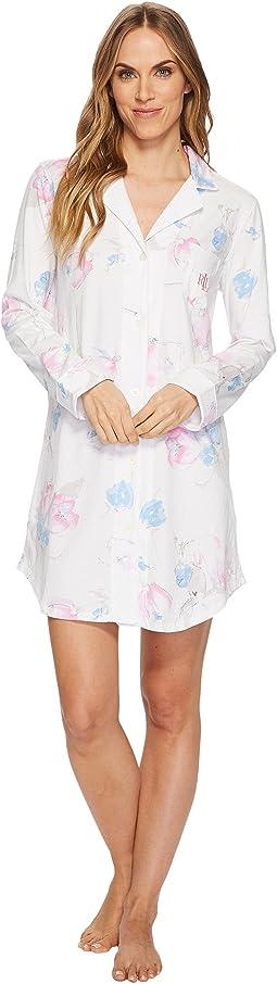LAUREN Ralph Lauren Knit Notch Collar Sleepshirt
