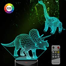 amivoo 2 in 1 Dinosaur 3D Night Lights for Kids - 7 Colors Changing Touch Table Desk Lamp Remote Control 3D Illusion Lamp   Dinosaurs Toy Boys Girls Cool Christmas Birthday Gifts Idea Bedroom Decor