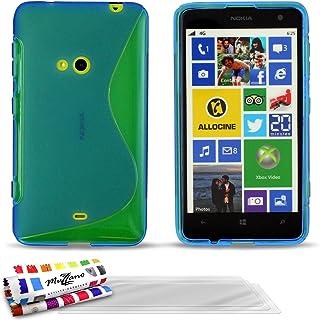 """MUZZANO Original""""Le S"""" premium flexibelt skal fodral med 3 ultraklart skärmskydd för Nokia Lumia 625 – blå"""