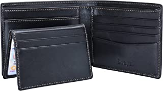 Wallet for Men Leather RFID Blocking Bifold Wallet With 2 ID Window (Black)