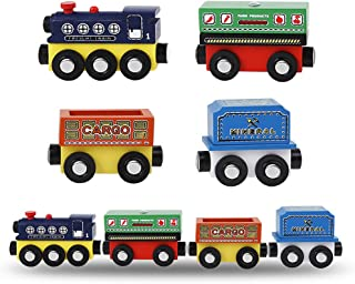 MinYn Wooden Train Cars with Magnetic Engine Deluxe Train Toy Set Collection for Kids Boys and Girls - 4 pieces(Freight train series)