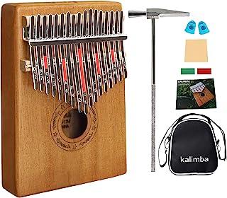 Kalimba, Finger Piano17 key Thumb Piano Mbira Mahogany Wood Kalimba Beginner Music Instrument with Tuning Hammer/Bag/Pickup/Key Stickers