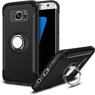 MaiJin Funda para Samsung Galaxy S7 Edge (5,5 Pulgadas) Multifunción Anillo sostenedor movil de 360 Grados con función de Soporte Rugged Armor Cover Case (Negro)