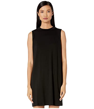 Eileen Fisher Fine Tencel Jersey Mock Neck Slim Knee Length Dress (Black) Women