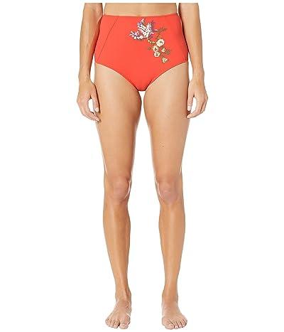 Stella McCartney Embroidery High-Waist Bikini Bottoms (Orange) Women