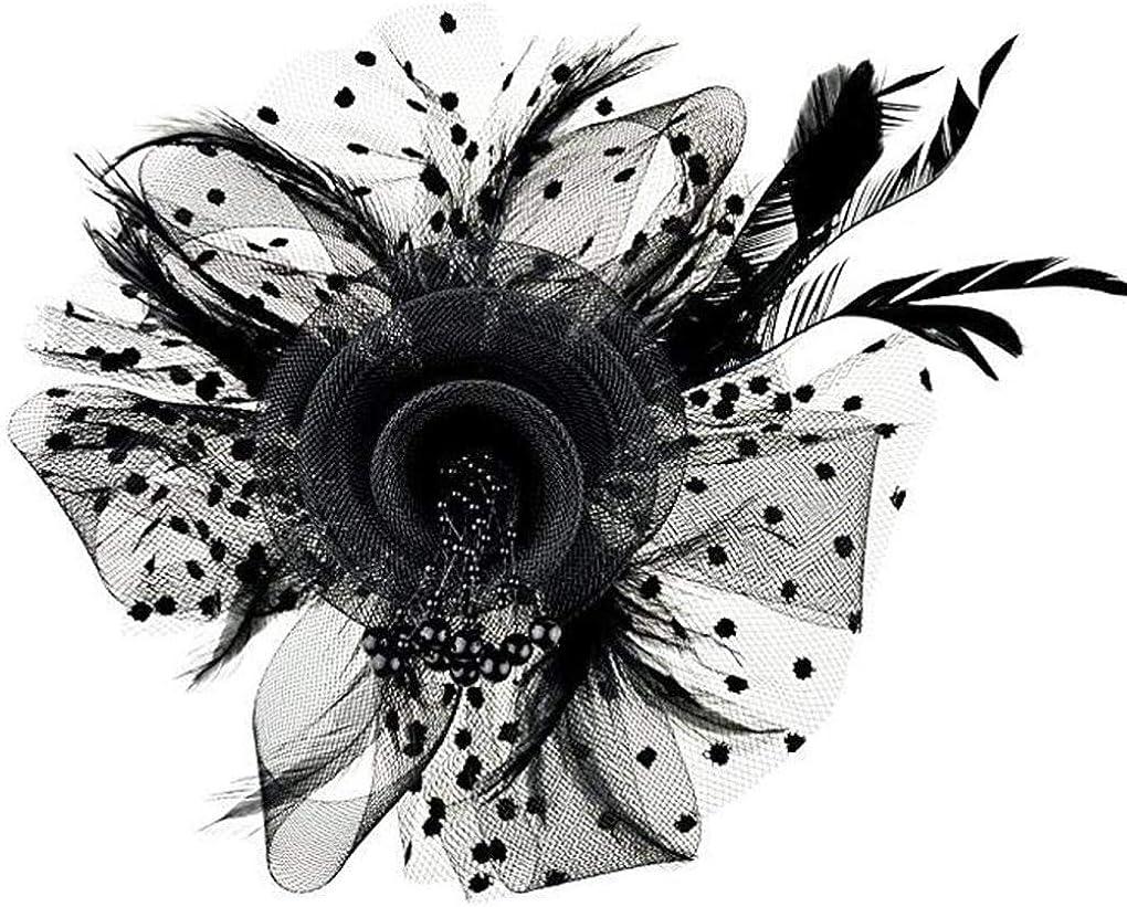 TTBDFC Fascinators Hat for Women Tea Party Headband Kentucky Derby Wedding Cocktail Flower Mesh Feathers Hair Clip Black