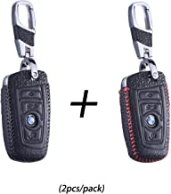 DKM International DKMUS 2PCS//Pack Leather Key Cover Compatible for Honda Civic Accord CR-V Pilot FOB Shell Key Chains Premium Quality Handmade Blue + Red