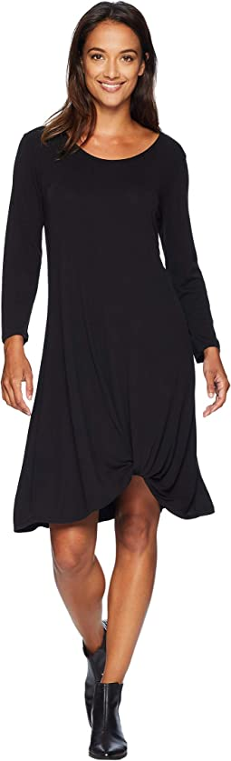 Sandwashed Modal Jersey 3/4 Sleeve Twist Hem Dress