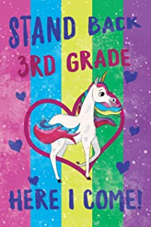 Stand Back 3rd Grade Here I Come Notebook Unicorn Pastel: Cute Wide-Lined Notebook for School Girl Kids