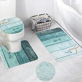 HAOCOO Bath Rug Set 3 Piece White Marble Faux Wool Bath Mat with U-Shaped Contour Rug, Toilet Lid Cover & Rectangle Bathro...
