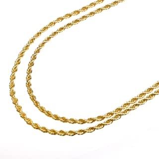 metaltree98 14K Yellow Gold Plated 2.5 mm Rope Double Chain Necklace 22