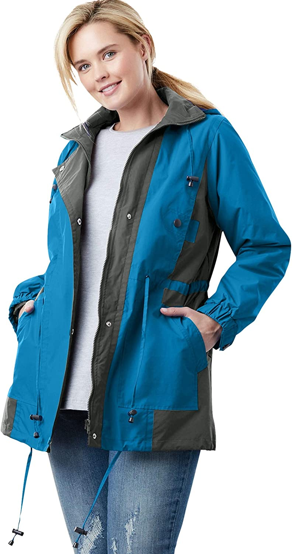 Woman Within Women's Plus Size Colorblocked Taslon Anorak Jacket