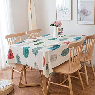 LEEVAN Heavy Weight Vinyl Rectangle Table Cover Wipe Clean PVC Tablecloth Oil-Proof/Waterproof Stain-Resistant-54 x 72 Inch (Colorful Leaves)