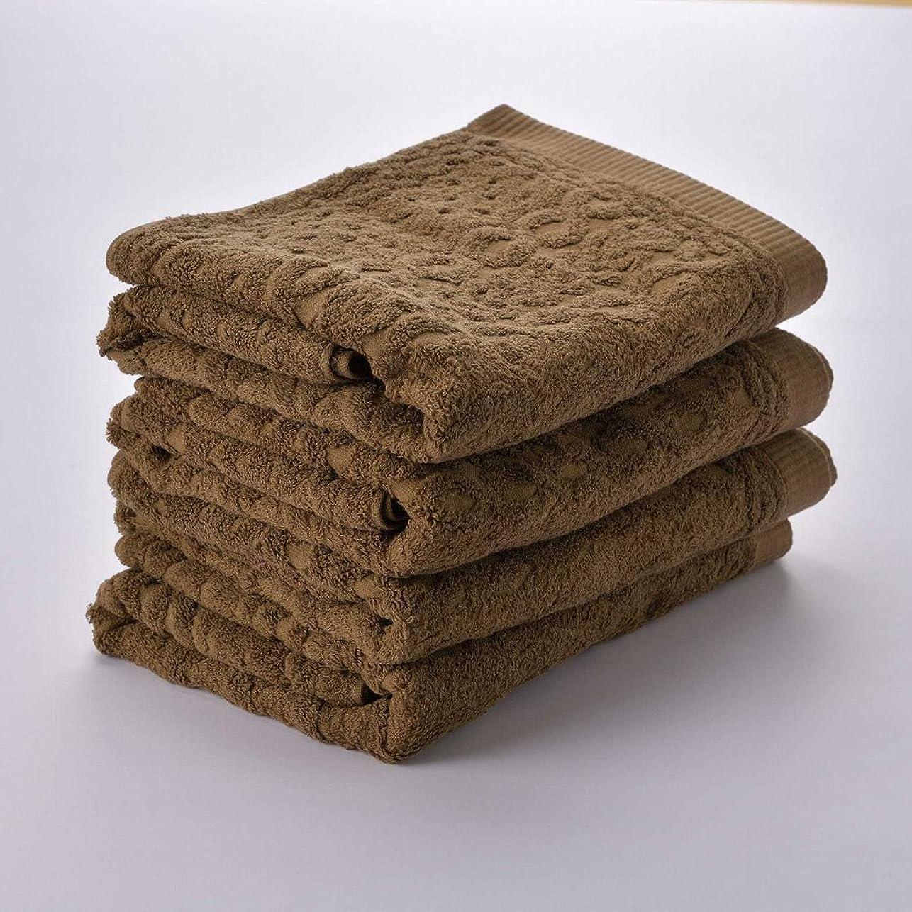 フルートカフェテリアよろしく日繊商工 今治タオル ニット バスタオル 4枚セット ブラウン knit_b4set_br