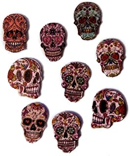 "Fancy & Decorative {16 x 24mm w/ 2 Holes} 10 Pack of Large Size ""Flat"" Sewing & Craft Buttons Made of Genuine Wood w/ Cool Floral Sugar Skull Calavera Mexican Skeleton Design {Assorted Colors}"