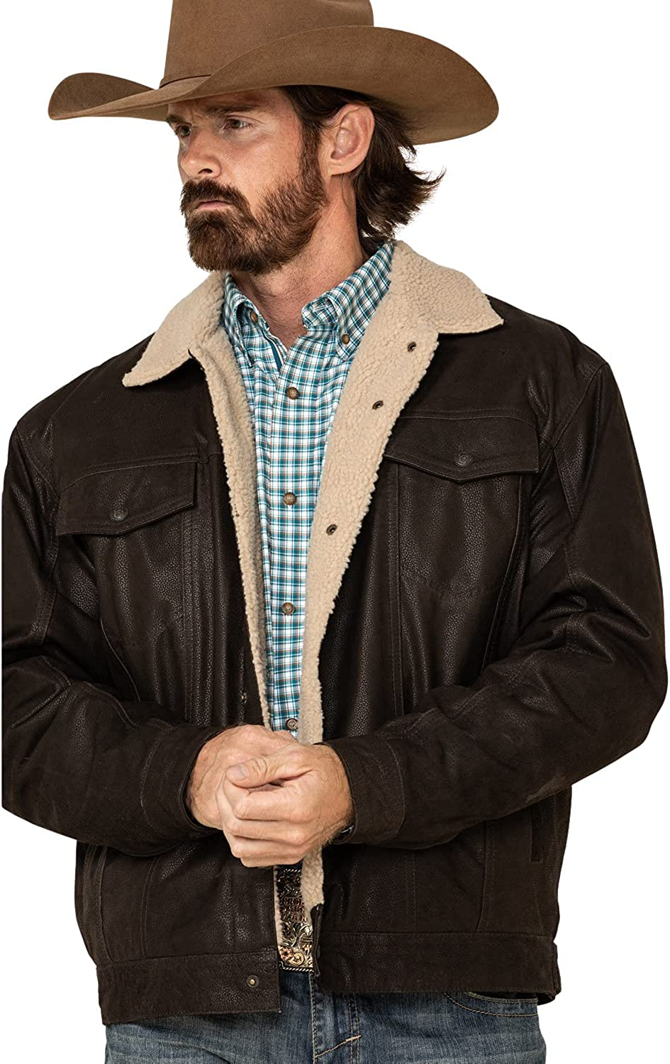 Cripple Creek Men's Leather Sherpa Lined Jacket Brown XX-Large