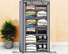 Keekos Collapsible Wardrobe Organizer, Storage Rack for Kids and Women, Clothes Cabinet, Bedroom Organiser with 6 Layer_Grey