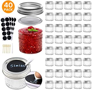 Simiao Mason Jars 4 oz 40 Pack Mini Canning Jars with Regular Lids and Bands Jelly Jars for Jam, Honey, Wedding Favors, Shower Favors, Baby Foods, DIY Glass Jars (4 oz 40 Pack)