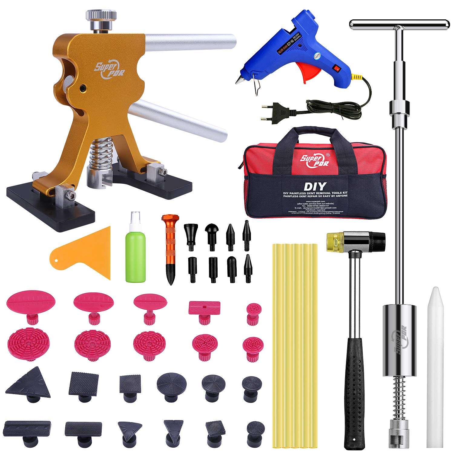 Fly5D Complete Paintless Auto Dent Removal Tools Set Repair of Dents with Different Aluminum Dent Pull Tabs Can Be Reused Countless Times Dent Puller Kit for Anybody/…
