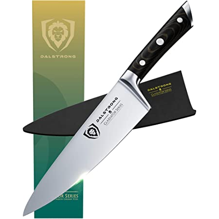 """DALSTRONG Chef Knife - 8"""" - Gladiator Series - Forged ThyssenKrupp High Carbon German Steel - Full Tang - Black G10 Handle - w/Sheath - NSF Certified"""