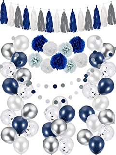 66 Pieces Party Decorations, Include Navy Blue White Grey Silver Balloons, Paper Pom Flowers, Tassel Garland and Round Party Garland for Birthday Wedding Baby Shower Graduation Ceremony