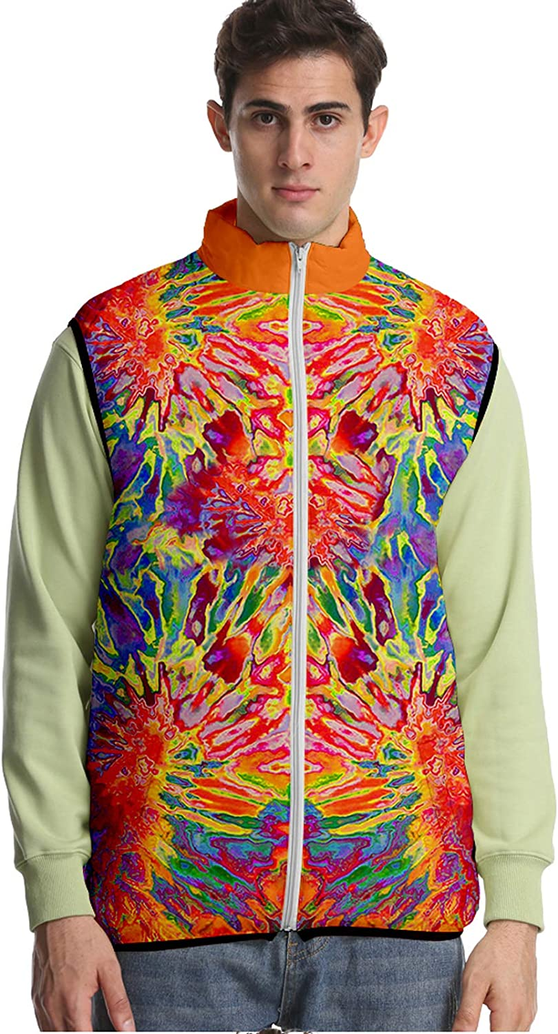 URVIP Unisex Oversized 3D Printed Tie-Dyed Down Puffer Vest Sleeveless Jacket