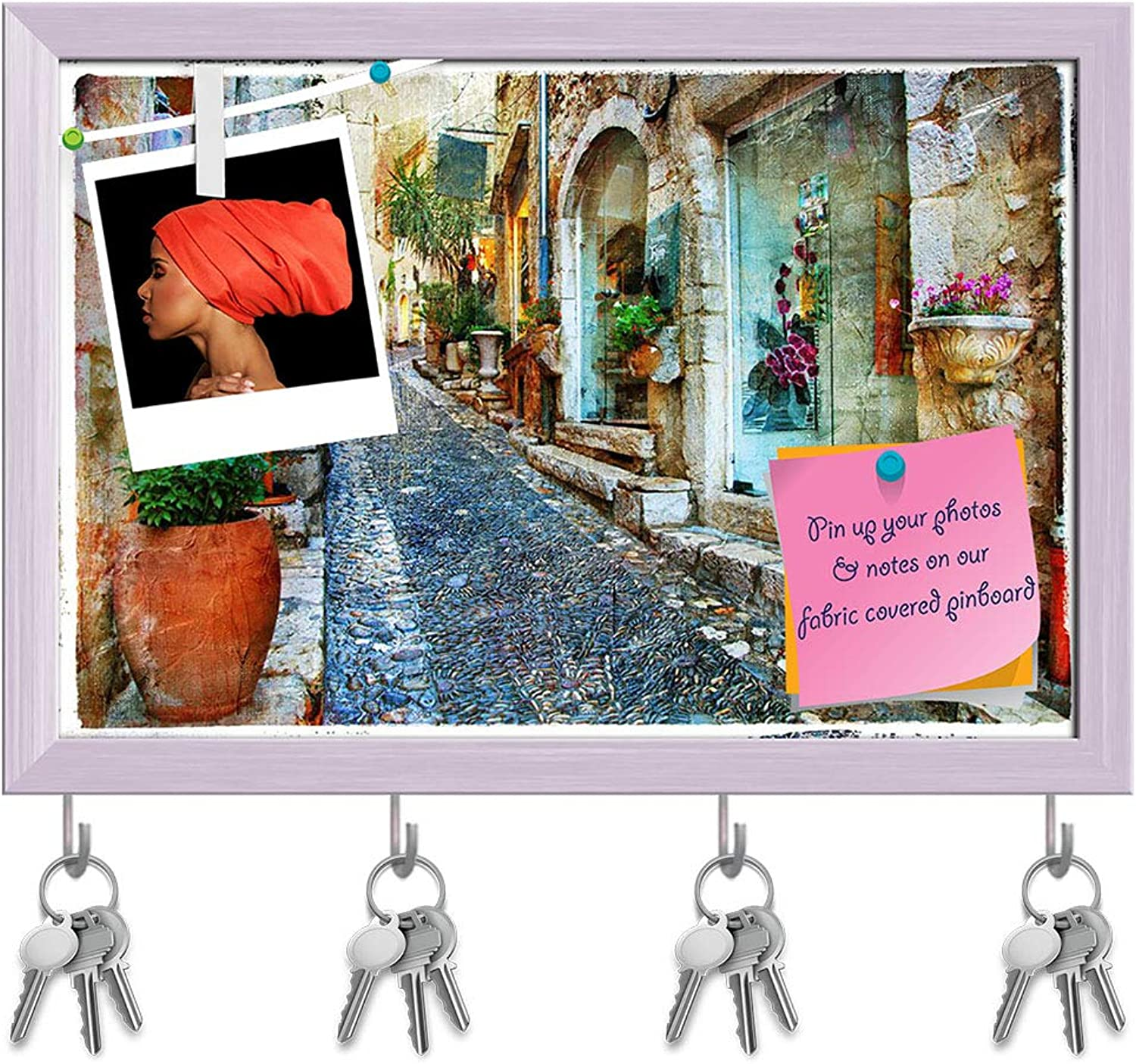 Artzfolio Charming Streets of French Villages D2 Key Holder Hooks   Notice Pin Board   White Frame 17.5 X 12Inch