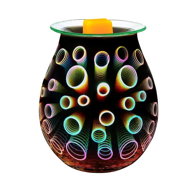 音節厳しいくしゃみCOOSA Electric Oil Warmer、美しいガラスワックスTart Burner夜ライトアロマ装飾ランプwith 3d効果のGifts & Decor EL0717_US