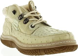 Men's Off White Genuine Exotic Crocodile Ostrich Skin Sneaker