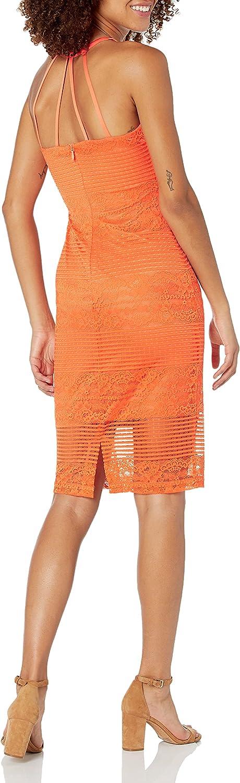 GUESS Women's Illusion Lace Halter Neck Dress